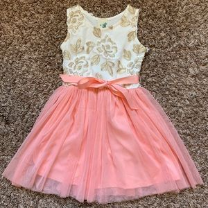 Girls pink and embroidered dress